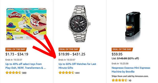Amazon đã tạo đồng hồ đếm ngược dưới danh sách sản phẩm flash sale của mình